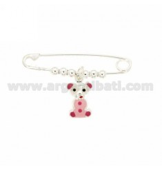 Safety Pin SILVER 925 ‰ TIT BEAR WITH GLAZED