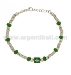 NUGGET BRACELET DIAMETER 4 MM WITH GREEN RUBBER ELEMENTS IN SILVER RHODIUM TIT 925 ‰ CM 18 AND ENAMEL