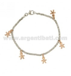 BRACELET MICRO RINGS DIAMETER 2.5 PENDING WITH KIDS PINK GOLD PLATED SILVER RHODIUM TIT 925 ‰ CM 18