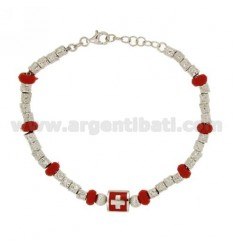 NUGGET BRACELET DIAMETER 4 MM WITH ELEMENTS IN RED RUBBER SILVER RHODIUM TIT 925 ‰ CM 18 AND ENAMEL