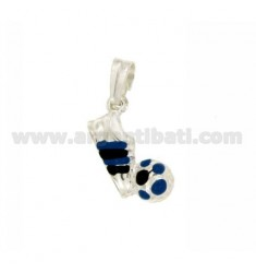 PENDANT WITH FOOT BALL MM 20x10 SILVER GLAZED ASSORTED COLORS TIT 925 ‰
