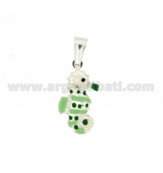 PENDANT IPPOCAMPO MM 23X12 SILVER GLAZED ASSORTED COLORS TIT 925 ‰