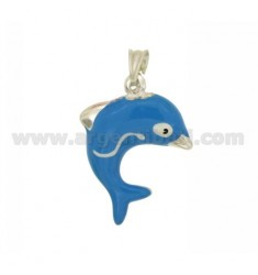 PENDANT DOLPHIN 28x19 MM SILVER GLAZED ASSORTED COLORS TIT 925 ‰