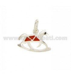 ROCKING HORSE PENDANT 16x21 MM SILVER GLAZED ASSORTED COLORS TIT 925 ‰