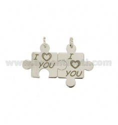CIONDOLO PUZZLE I LOVE YOU DIVISIBILI IN ARGENTO RODIATO 925‰