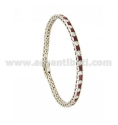 TENNIS BRACELET WITH RED AND WHITE ZIRCONIA SILVER RHODIUM TIT 925 ‰