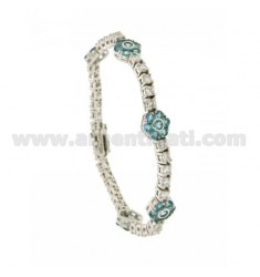 TENNIS BRACELET WITH FLOWERS IN SILVER RHODIUM 5 TIT 925 ‰ WITH ZIRCONIA WHITE AND BLUE 18 CM