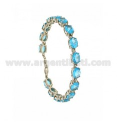 BRACELET WITH SWAROVSKI OVAL BLUE SILVER RHODIUM TIT 925 ‰ CM 18