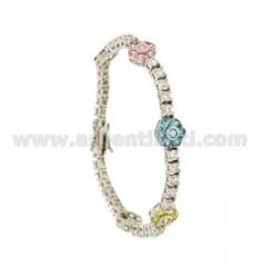 TENNIS BRACELET WITH FLOWERS IN SILVER RHODIUM 5 TIT 925 ‰ WITH ZIRCONIA WHITE AND MULTICOLOR CM 18
