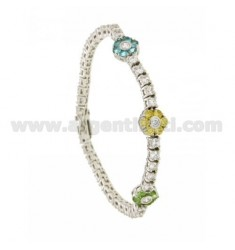 TENNIS BRACELET WITH 3 FLOWERS IN SILVER RHODIUM TIT 925 ‰ WITH ZIRCONIA WHITE AND MULTICOLOR CM 18