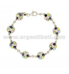 FLOWERS IN SILVER BRACELET RHODIUM WITH ZIRCONIA ‰ TIT 925 MULTICOLOR CM 18