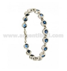TENNIS BRACELET WITH BLUE ZIRCONIA SILVER RHODIUM TIT 925 ‰ CM 18