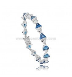 TENNIS BRACELET WITH TRIANGLE ZIRCONIA BLUE SILVER RHODIUM TIT 925 ‰ CM 18