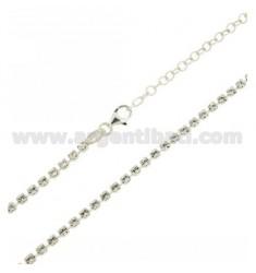TENNIS Halskette Silber 2,5 MM 925 ‰ TIT UND CRYSTAL WHITE CM 50