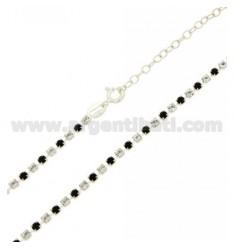 TENNIS Halskette Silber 2,5 MM 925 ‰ TIT UND KRISTALL Anteile weiß und schwarze cm 40