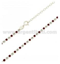 TENNIS Halskette Silber 2,5 MM 925 ‰ TIT UND KRISTALL weiß und rosa 40 CM