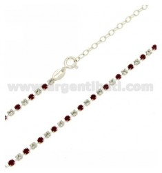 TENNIS NECKLACE SILVER 2.5 MM 925 ‰ TIT AND CRYSTAL WHITE AND PINK 40 CM