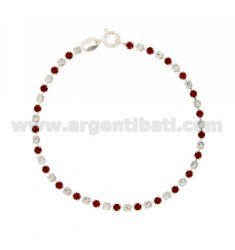 TENNIS BRACELET SILVER 2.5 MM 925 ‰ TIT AND CRYSTAL WHITE AND RED CM 18