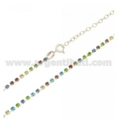 COLLARINO TENNIS MM 2,5 IN ARGENTO TIT 925‰ E STRASS MULTICOLOR CM 34 ESTENSIBILE A 40
