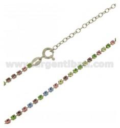 TENNIS Halskette Silber 2,5 MM 925 ‰ TIT UND KRISTALL Weiß und Gelb CM 40