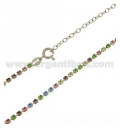 TENNIS NECKLACE SILVER 2.5 MM 925 ‰ TIT AND CRYSTAL WHITE AND YELLOW CM 40