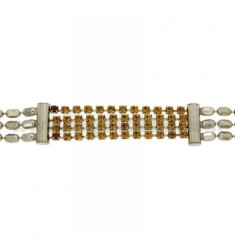 TENNIS BRACELET WITH CENTRAL MM 3 WIRES IN METAL AND CRYSTAL WITH WIRES AND CLOSING IN SILVER 925 ‰ TIT CM 18