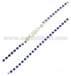 TENNIS NECKLACE 2.5 MM SILVER AND CRYSTAL BLUE TIT 925 ‰ CM 42