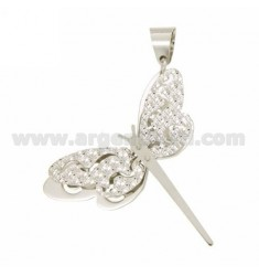 DRAGONFLY PENDANT DOUBLE DIAMOND PLATE FUND IN SILVER RHODIUM TIT 925