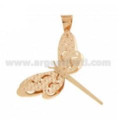 Libélula colgante DOBLE DIAMANTE FONDO PLACA EN PLATA rosa de oro bañado TIT 925