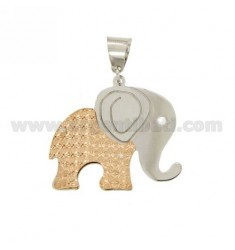 ELEPHANT PENDANT DOUBLE DIAMOND PLATE FUND IN SILVER PLATED ROSE GOLD AND RHODIUM TIT 925