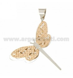 DRAGONFLY PENDANT DOUBLE DIAMOND PLATE FUND IN SILVER PLATED ROSE GOLD AND RHODIUM TIT 925