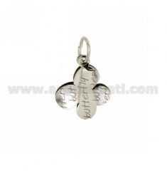 BUTTERFLY PENDANT.BUTTERFLY DOUBLE PLATE SILVER RHODIUM TIT 925