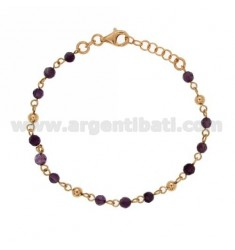 BRACELET WITH STONE BALLS 4 MM SILVER ROSE GOLD PLATED TIT 925 ‰ CM 18.20