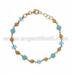 BRACELET WITH BALLS MM 6 STONE AND CRYSTAL SILVER PLATED ROSE GOLD 925 ‰ TIT CM 18.20