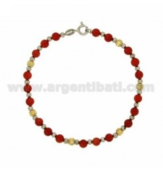 BRACELET WITH BALLS PASTA CORAL 5 MM SILVER RHODIUM AND GOLD PLATED TIT 925 ‰ CM 18