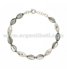 BRACELET WITH OVAL CRYSTAL SILVER RHODIUM TIT 925 ‰ CM 18.20