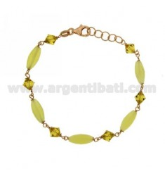 BRACELET WITH OVAL STONE PYRAMIDS AND CRYSTAL GREEN SILVER ROSE GOLD PLATED TIT 925 ‰ CM 18.20