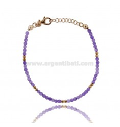 BRACELET WITH PURPLE STONES MM 3 SILVER ROSE GOLD PLATED TIT 925 ‰ CM 18-20