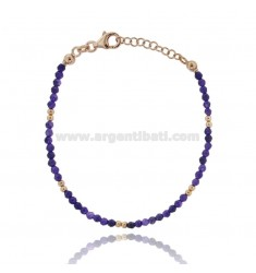 BRACELET WITH STONES PURPLE DARK 3 MM SILVER ROSE GOLD PLATED TIT 925 ‰ CM 18.20