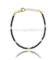 BRACELET WITH BLACK STONES 3 MM SILVER GOLD PLATED TIT 925 ‰ CM 18.20