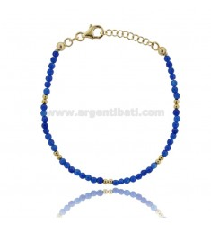BRACELET WITH BLUE STONES MM 3 SILVER GOLD PLATED TIT 925 ‰ CM 18-20