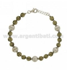 BRACELET WITH SMOKED CRYSTAL BALLS IN SILVER RHODIUM-PLATED TIT 925 ‰ CM 18-20