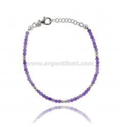 BRACELET WITH STONES PURPLE 3 MM SILVER RHODIUM TIT 925 ‰ CM 18.20