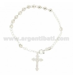 ROSARY BRACELET WITH BALL faceted MM 5 19 CM IN SILVER 925 ‰