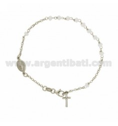 ROSARY BRACELET WITH WHITE STONES faceted MM 3.5 2.8 X 20 CM IN SILVER RHODIUM 925 ‰