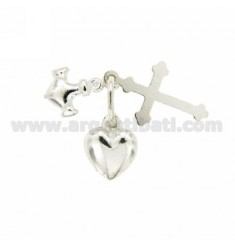CHARM COUPLED SIZE LARGE CROSS.FAITH, HOPE AND CHARITY.STILL.HEART SILVER TIT 925 ‰