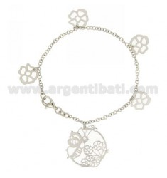 ROLO BRACELET &39PENDING WITH BEE AND FLOWERS IN SILVER RHODIUM TIT 925 ‰ CM 18