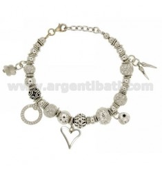 BRACELET WITH BALLS AND PENDING IN SILVER RHODIUM TIT 925 CM 18