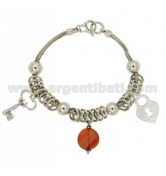 BRACELET TAIL MOUSE WITH KEY LOCK AND SILVER RHODIUM TIT 925 CM 18 AND CRYSTAL