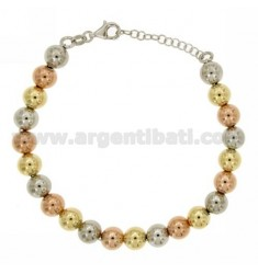 BRACELET SPHERES 8 MM WITH CLOSURE IN AG TIT 925 ‰ TRICOLORE